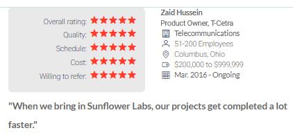 sunflower lab top app developer in Philadelphia